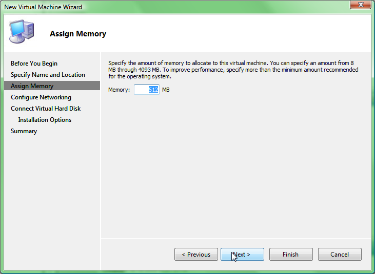 creating a virtual machine setting memory