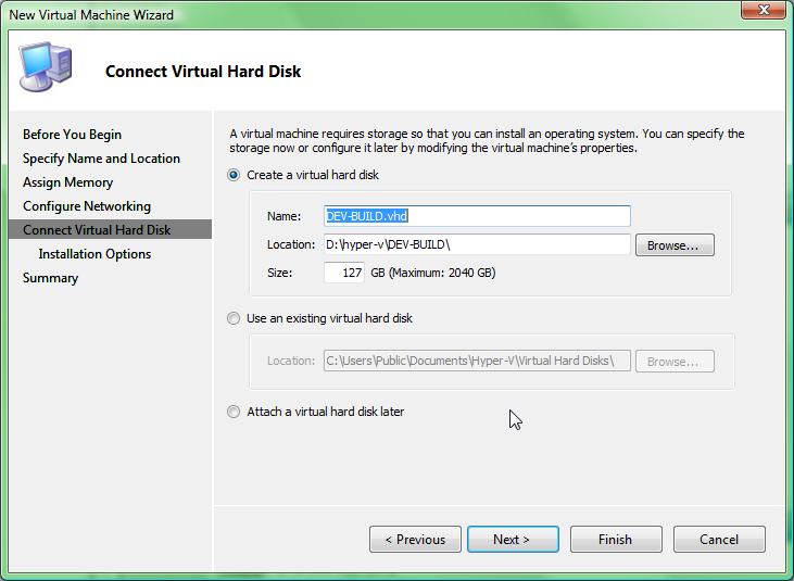 creating a virtual machine creating hard disk