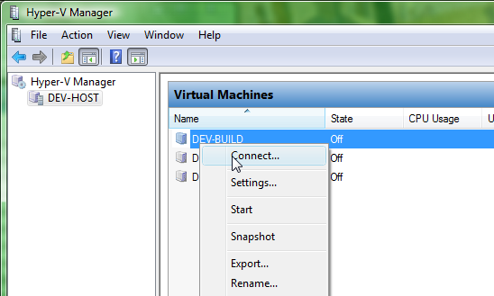 creating a virtual machine connecting to machine