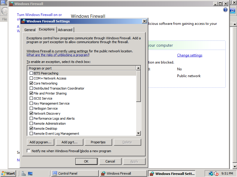 enable windows server 2008 firewall rules