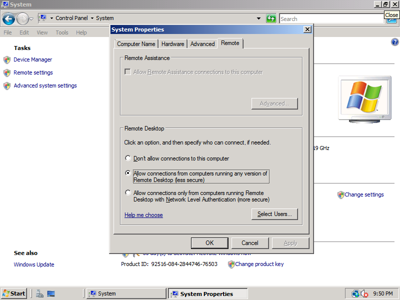 enable windows server 2008 remote desktop