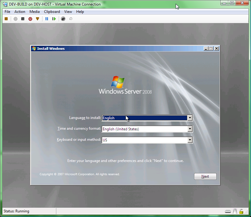 installing windows server 2008 on virtual machine