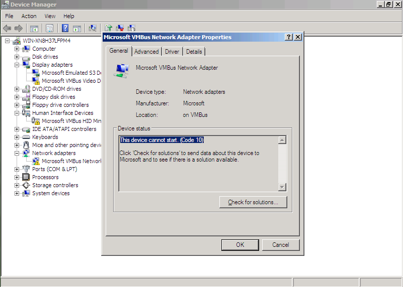 virtual windows server 2008 problem with drivers This device cannot start. (Code 10)