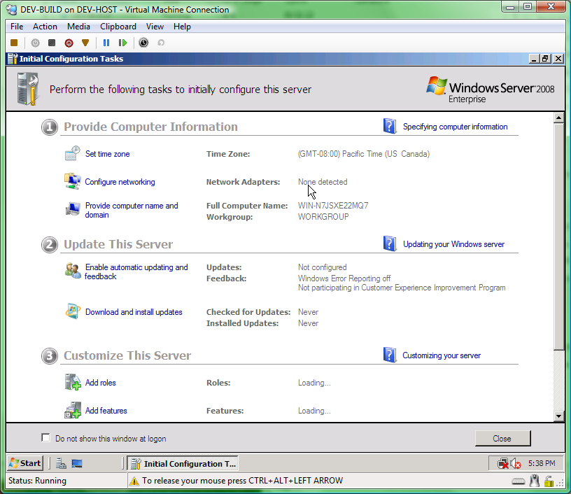 windows server 2008 initial configurations