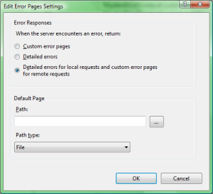 default http errors setting for iis7